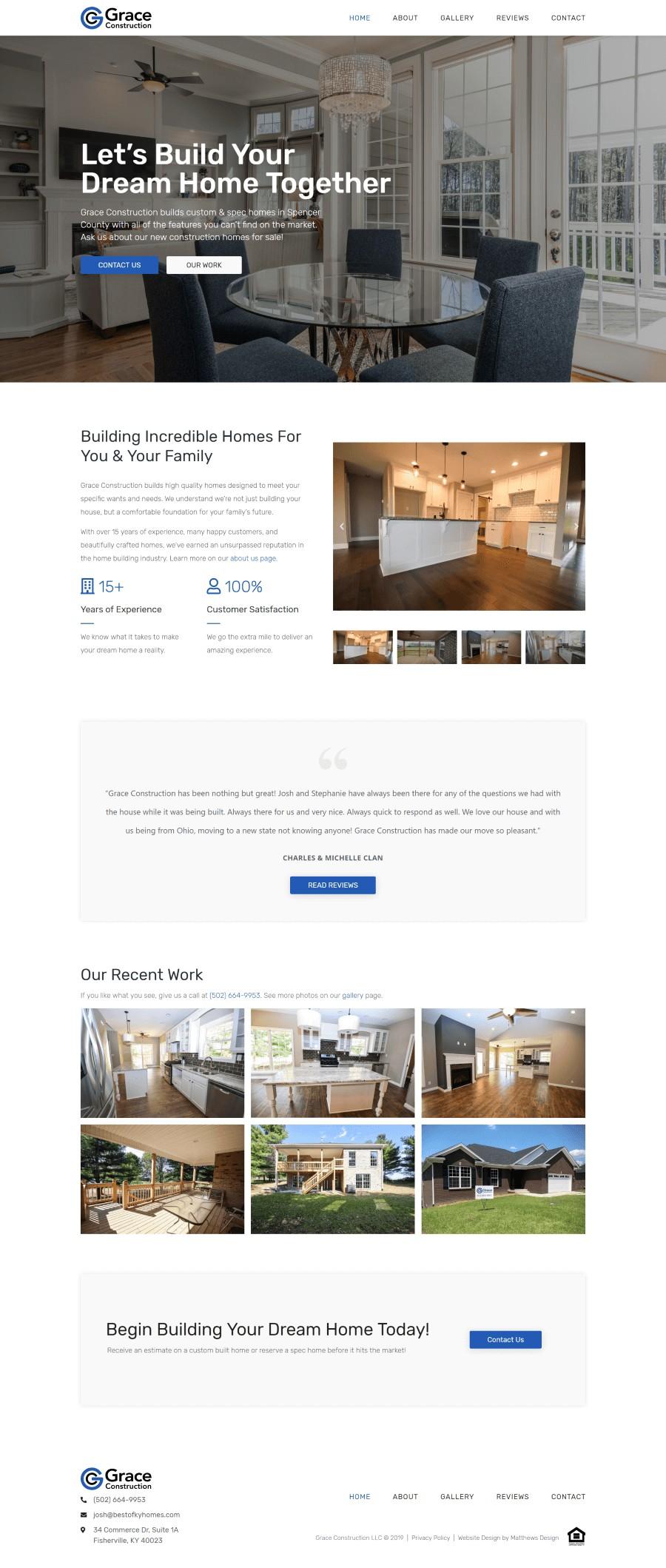 Grace Construction Website by Matthews Design
