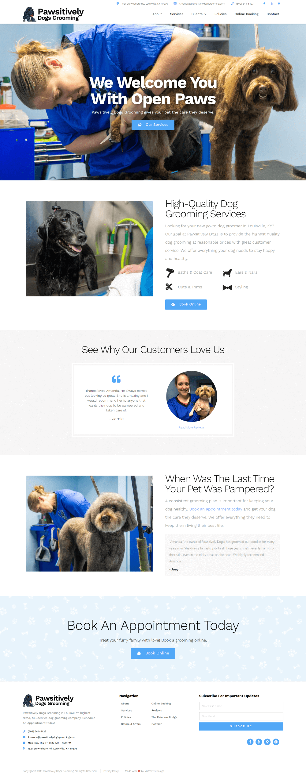 Pawsitively Dogs Grooming by Matthews Design
