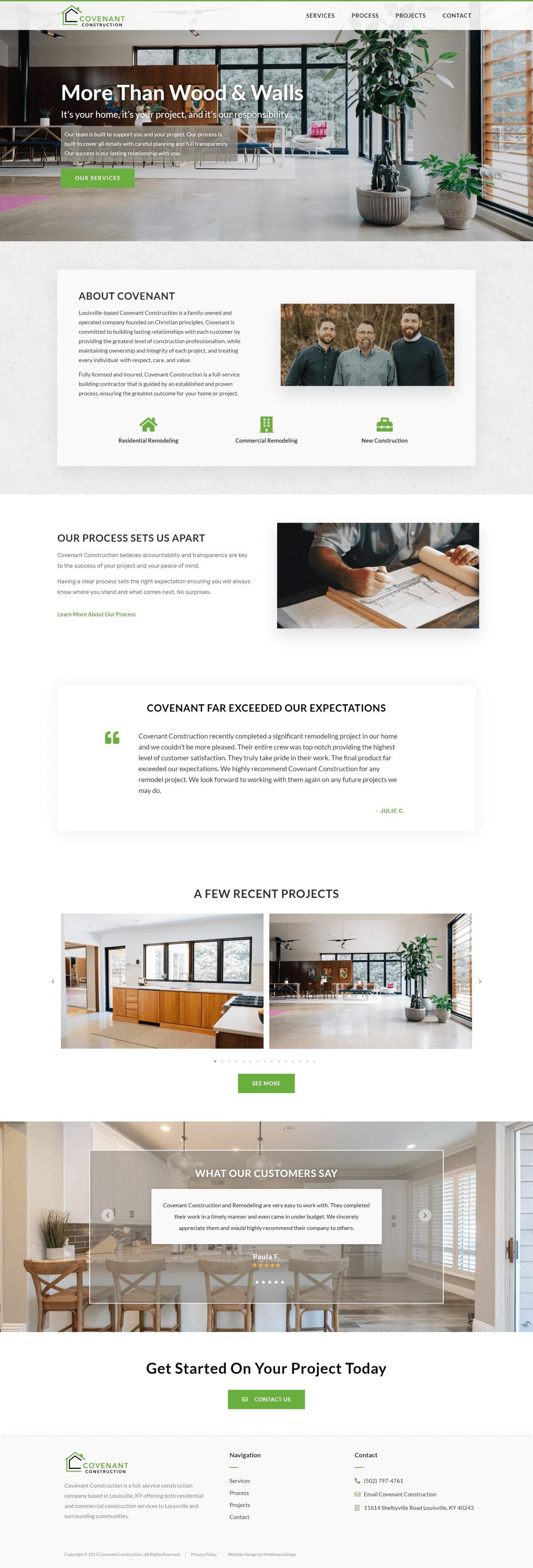 Covenant Construction Website Design by Matthews Design