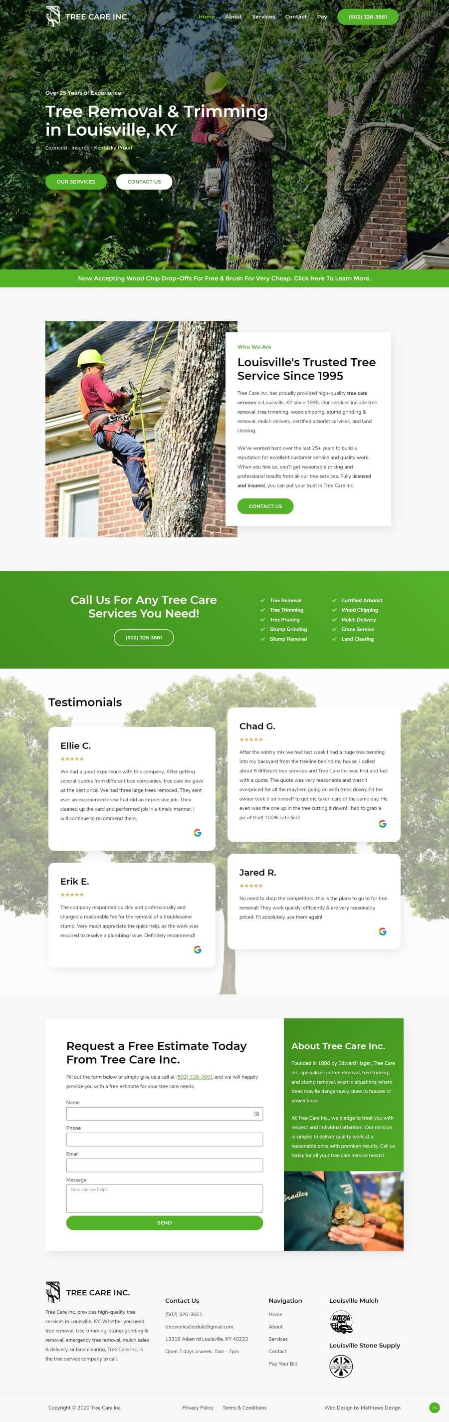 Tree Care Inc Web Design by Matthews Design
