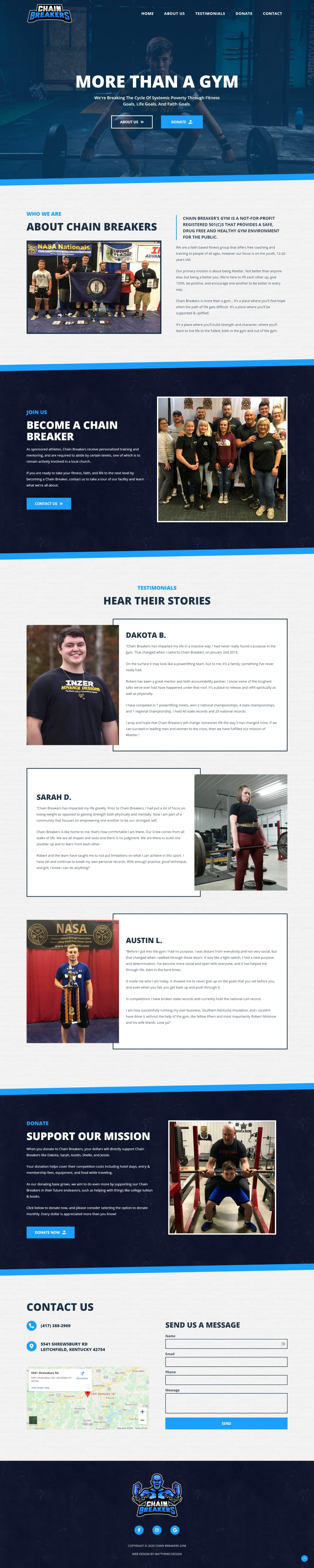 Chain Breakers Gym Website Design by Matthews Design