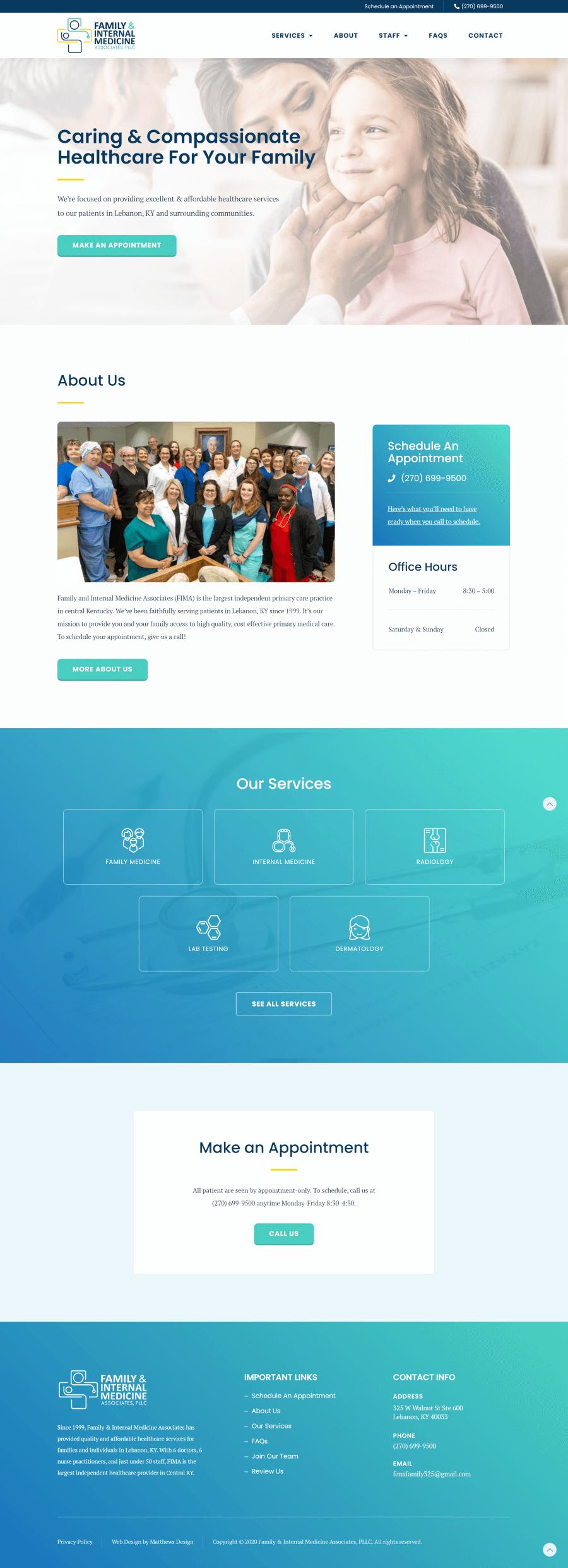 Family & Internal Medicine Associates Website Design by Matthews Design