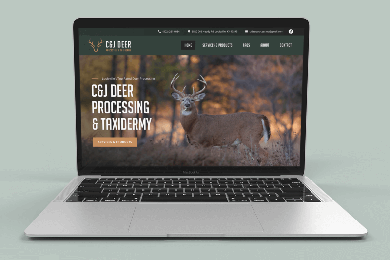 C & J Deer Processing & Taxidermy Website Mockup